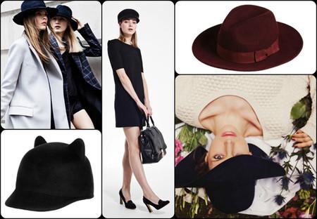 """На фото богемно-элегантный шедевр от Marie Sixtine, «ушастое» фетровое кепи с козырьком от Zara, классическая бордовая шляпа <a name=""""page-break""""></a> от Whistles, модные изделия из синей шерсти от French Connection."""