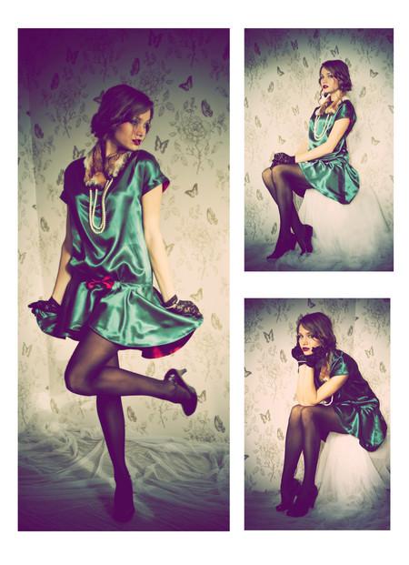 Платье и меховую горжетку шила для курсовой работы, за которую получила 5=)