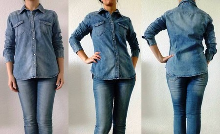 Джинсовая рубашка H&M навыпуск