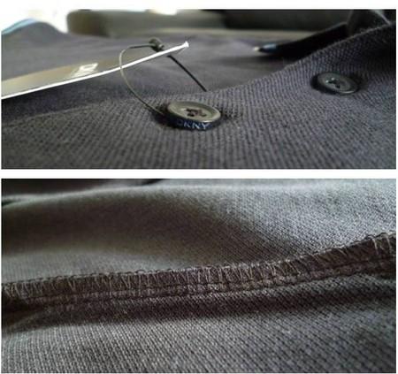 Пуговица DKNY, внутренний шов футболки