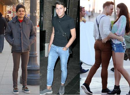 Мужские зауженные джинсы с мокасинами