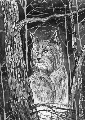 Картина «Рысь» Марины Бочаровой на выставке в Петербурге — фото 1