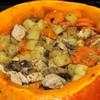 Печеная тыква с мясом и картофелем