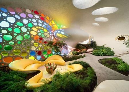 """Внутри """"ракушки"""" в гостиной находится самый настоящий сад"""