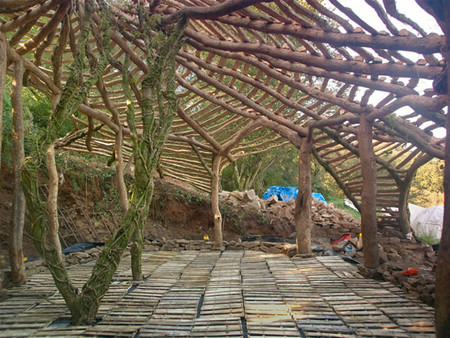 Дом как-будто покрыт деревянной паутиной