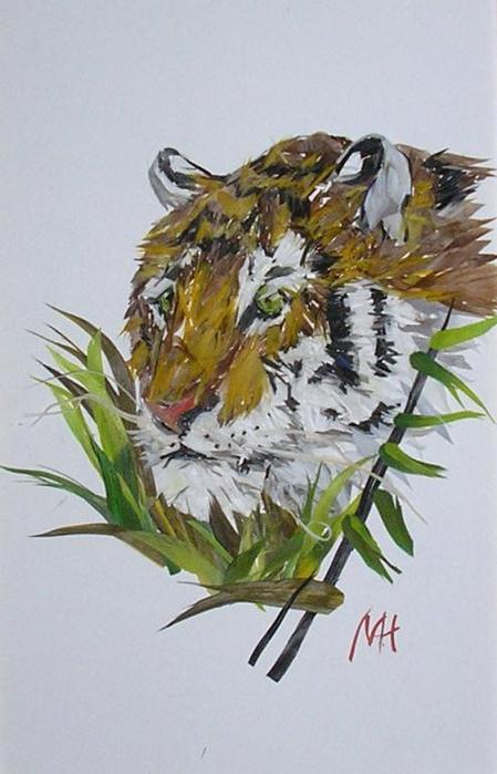 Среди работ художницы есть и довольно реалистичные изображения животных...