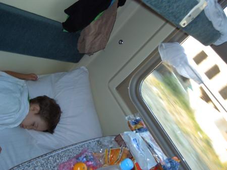Спит… Нужно будить, почти приехали.