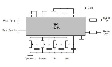 Регулятор громкости и тембра на TDA1524.