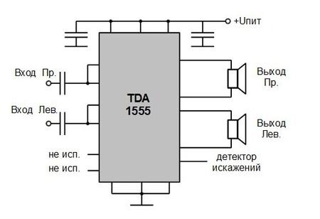 Усилитель мощности на TDA1555.