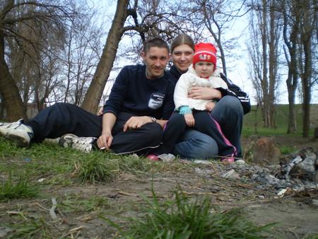 я с семьёй, первая вылазка весной 2010.