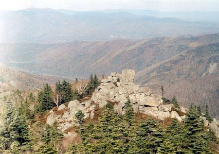 Каменный массив с камнем Маори<br /> (его высота – 3 человеческих роста)