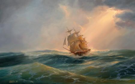 В открытом море