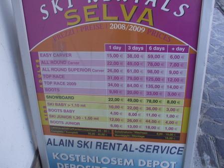 цены на прокат лыж и ботинок