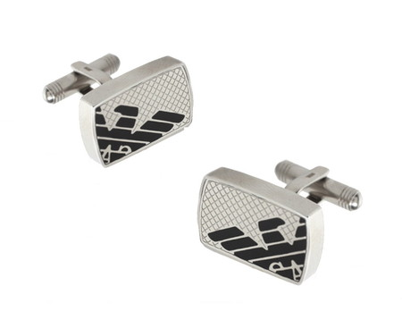 Запонки Emporio Armani Stainless Steel Logo Cufflinks.