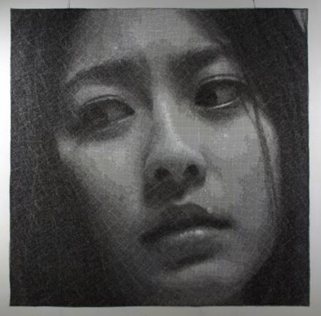 Обычный черно-белый портрет, только… из проволоки