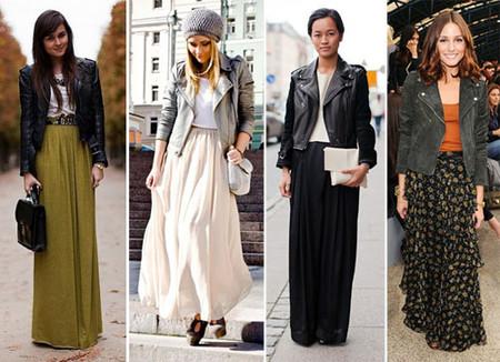 Удивительно, но длинная юбка отлично смотрится с короткой кожаной курткой
