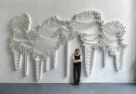 Белое на белом - инсталляции из туалетной бумаги — фото 6