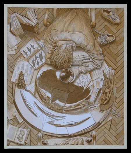 Анаморфная картина, вид сверху с меткой для зеркала (пивная кружка в руках очень уставшего человека)
