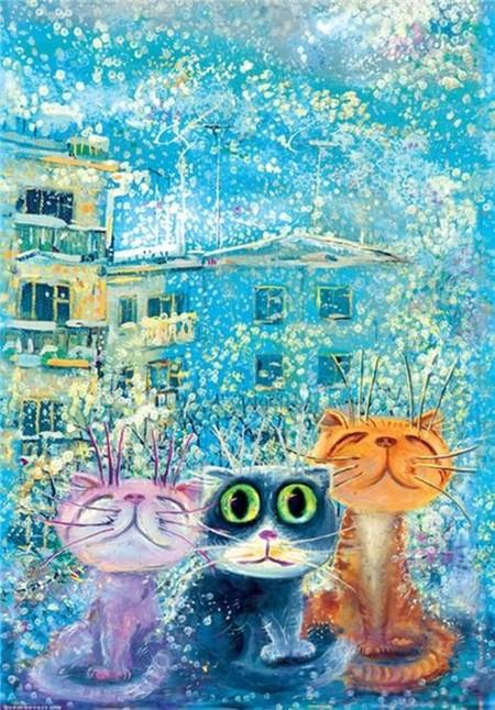 Три котенка зимой