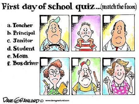 Тест – угадай, кто как выглядит первого сентября: поставь правильные буквы напротив учителя, директора, уборщика, ученика, мамы и водителя школьного автобуса. Догадались, кто улыбается?