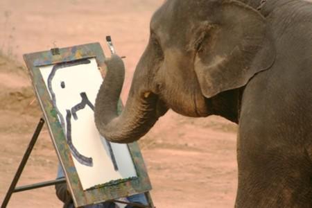 Как вы думаете, этот кадр не постановочный? Говорят, что слоны способны даже портреты рисовать!