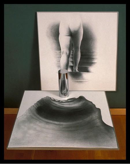 Автор создает иллюзию прозрачности цилиндра, который на самом деле зеркальный