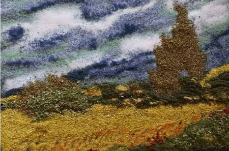 Пшеничное поле и кипарисы
