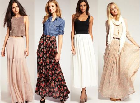 Летние длинные юбки были очень разными