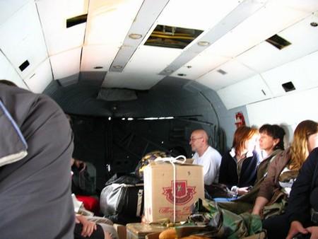 Внутри вертолета.