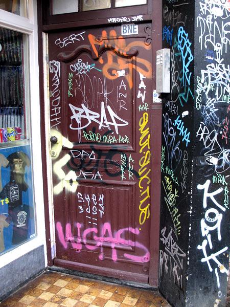 Стены не хватило. Это, кстати, дверь в чей-то дом — в Амстердаме весело жить