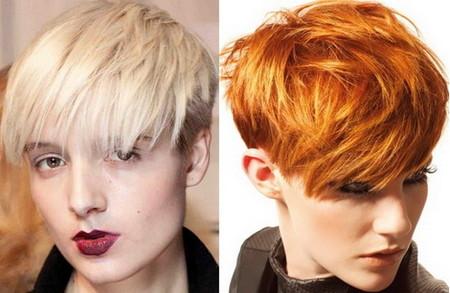 На коротких волосах стилисты и модельеры чаще используют яркие насыщенные оттенки красок. Хотя ничего нарочито неестественного нет.
