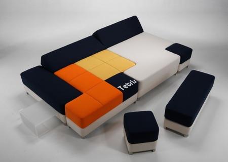 Яркий и минималистичный диван Tetris couch