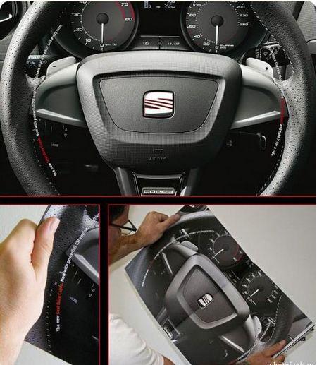 Реклама, позволяющая почувствовать себя за рулем автомобиля Seat