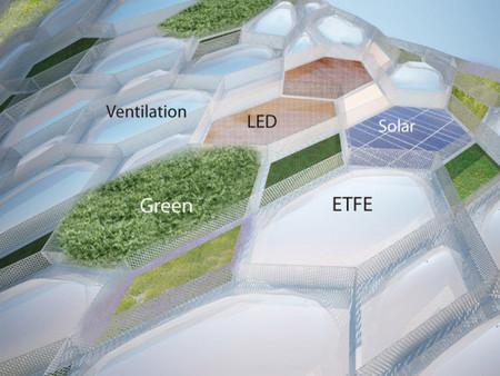 """Каждая """"сота"""" — ячейка, на поверхности фасада является многослойной и выполняет одну или несколько функций"""