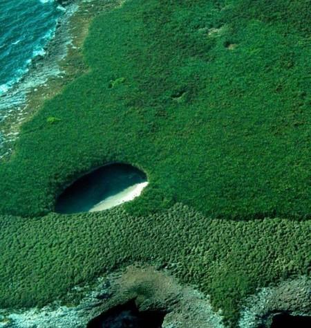 Вид на скрытый пляж с высоты птичьего полета