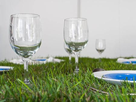 Почему-то мне кажется, что бокалы не очень устойчивы на траве :-) Но выглядит вся композиция очень свежо, по-летнему.