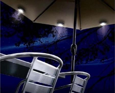 Solar garden parasol