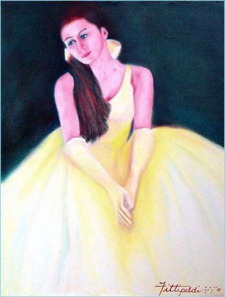 Начинала художница с цветных абстрактных картин, затем перешла к портретам