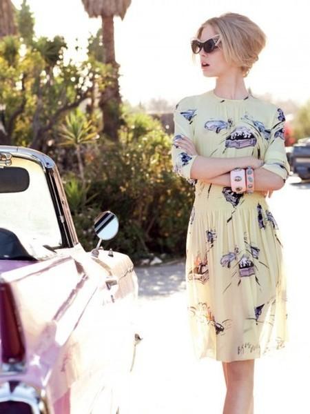 Платье — Prada; браслеты — vintage,очки cat eye -A-Morir