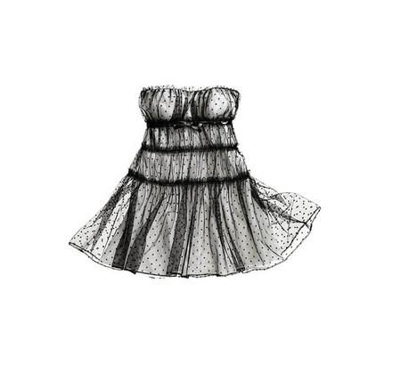 Платье с мелким черным гороховым принтом