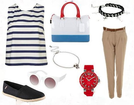 Чиносы Miss Selfridge, часы Jacques Lemans, топ Topshop, браслет и очки Asos, обувь Aldo, сумка Furla.