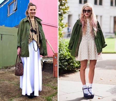 С чем носить куртку-парку: женственные платья и юбки