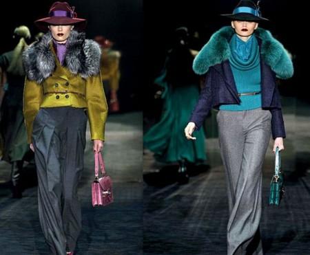 Короткие пальто от Gucci с меховым воротником