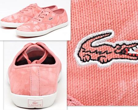 Розовые текстильные кеды Lacoste