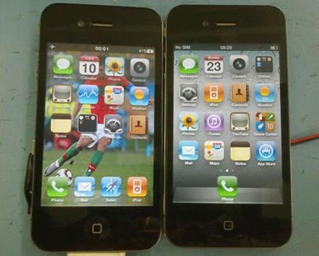 Подделка iPhone слева