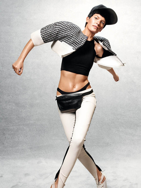 Кожаные брюки с лампасами Michelle Mason