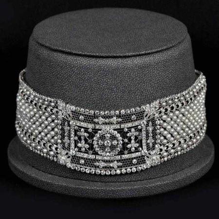 Чокер из жемчуга и алмазов Starr & Frost, 1905 г.