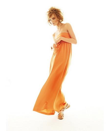 Оранжевое макси-платье с верхом-бандо