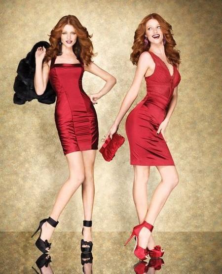 Коктейльные платья из красного атласа