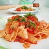 Паста хенд мейд или паппарделле в томатном соусе